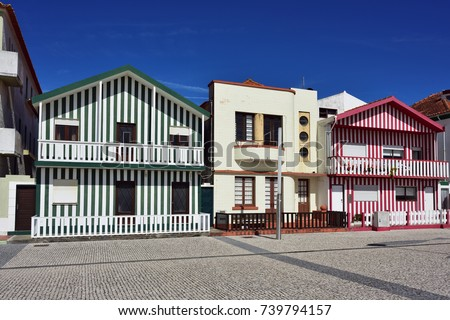 Costa Nova, Portugal - June 10, 2017:  Aveiro. Famous resort on the Atlantic coast in Beira Litoral, Portugal. Popular tourist destination to spend vacation time