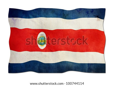 Costa Rica Flag made of Paper - stock photo