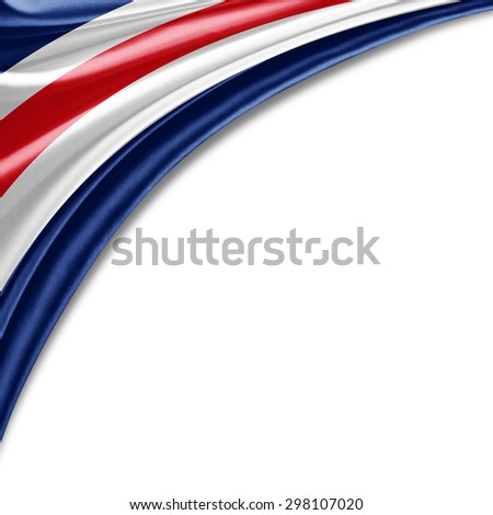 Costa Rica  flag of silk with copyspace for your text or images and white background - stock photo
