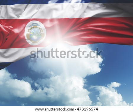 Costa Rica flag on a beautiful day