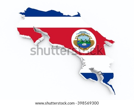 costa rica flag on 3d map - stock photo
