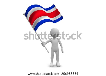 Costa Rica Flag  waving isolated on white background - stock photo