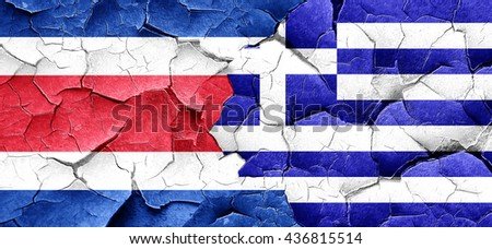 Costa Rica flag with Greece flag on a grunge cracked wall