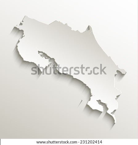 Costa Rica map card paper 3D natural raster - stock photo