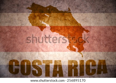 costa rica map on a vintage costa rican flag background - stock photo
