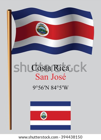 costa rica wavy flag and coordinates against gray background, art illustration, image contains transparency