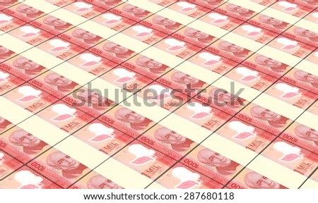 Costa Rican colon bills stacks background. - stock photo