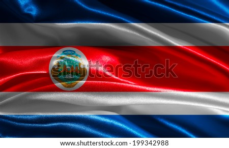 Costa Rican flag fabric with waves - stock photo