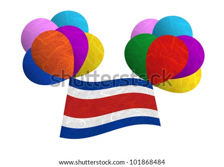 Costarica flag balloon on the wind. Mulberry paper on white background. - stock photo