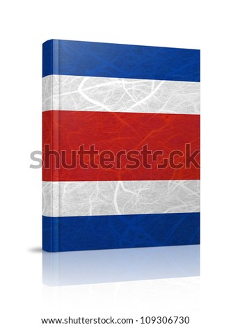 CostaRica flag book. Mulberry paper on white background. - stock photo