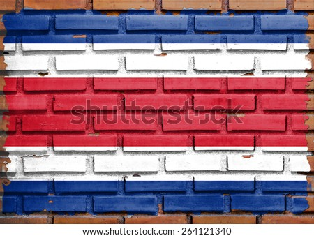 CostaRica flag painted on  brown brick wall background - stock photo