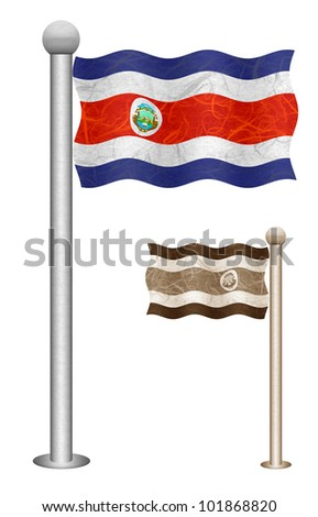 Costarica flag waving on the wind. Flags of countries in North America. Mulberry paper on white background. - stock photo