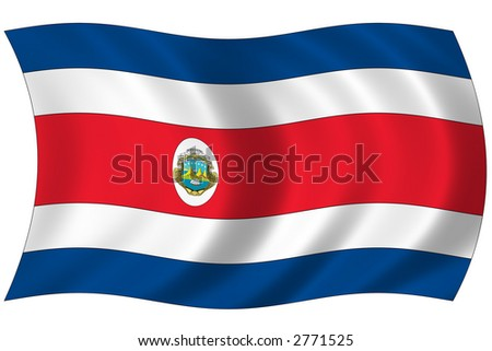 Costarica Wave Flag.Check my gallery for similar image - stock photo