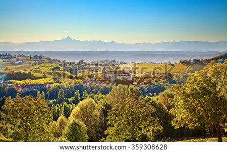 Costigliole d'Asti (Piedmont, Italy): landscape with mountains on background