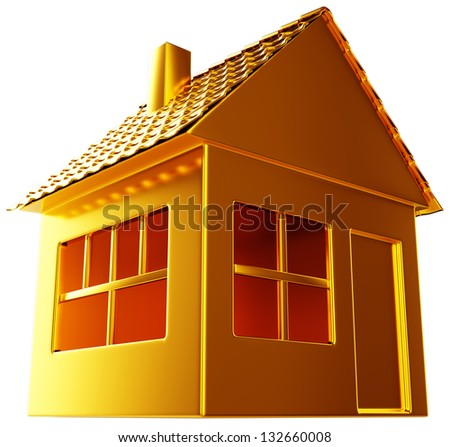 Costly realty: golden house shape isolated on white - stock photo