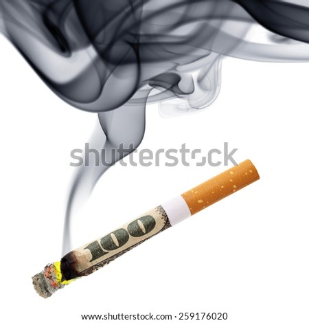 Costs of smoking - cigarette stub with smoke isolated over the white background - stock photo