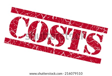 costs red square grungy isolated rubber stamp - stock photo