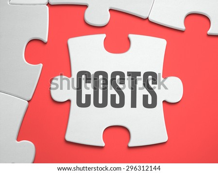 Costs - Text on Puzzle on the Place of Missing Pieces. Scarlett Background. Close-up. 3d Illustration. - stock photo