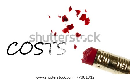 Costs word erased by pencil eraser - stock photo