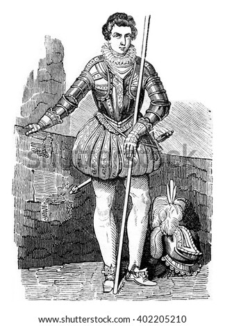 Costume Henry, son of Jacques, vintage engraved illustration. Colorful History of England, 1837.