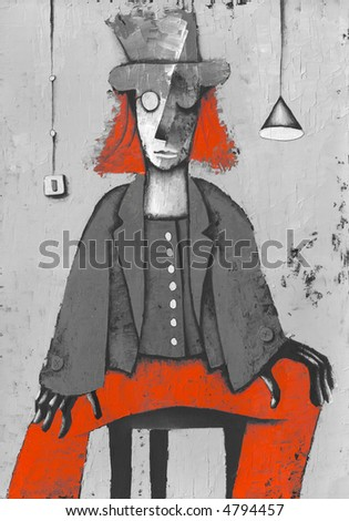 Costume red clown. Illustration by Eugene Ivanov. - stock photo