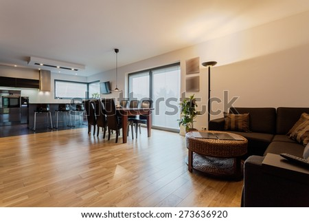 Cosy and elegant apartment with modern furniture - stock photo
