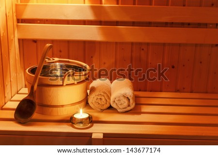 cosy atmosphere in the sauna at a spa area of ??a wellness hotel. rest and relax from everyday life. - stock photo