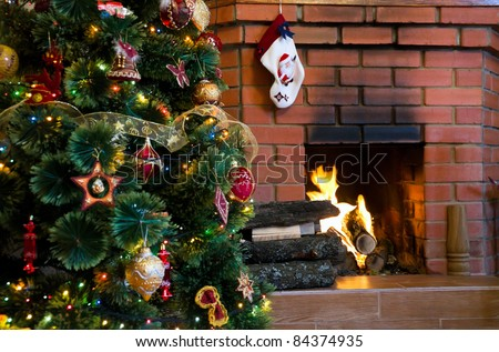 Cosy Christmas at a house fireplace  stock photo