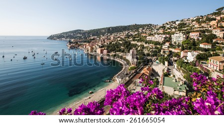 Cote d'Azur at the site of Villefranche-sur-Mer, France - stock photo