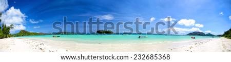 Cote D'Or Beach ( Anse Volbert )  panorama, Praslin Island, Seyshelles - stock photo