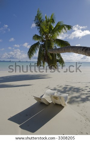 Cote d'Or - one of Praslin's finest beaches, fine white sand, emerald green water with sandy sea-floor