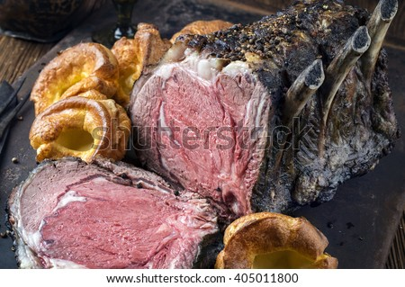 Cote de Boeuf with Yorkshire Pudding - stock photo