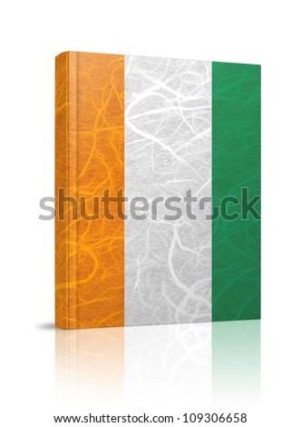 Cote dlvoire flag book. Mulberry paper on white background.