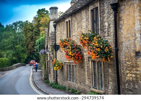 Cotswold village of Castle Combe, England - stock photo