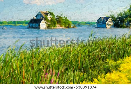 Cottage and a boathouse - painterly