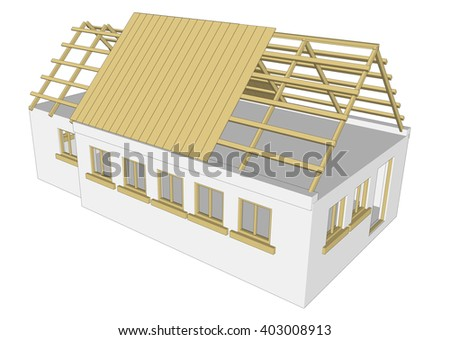 cottage building house on white background 3d rendering 5