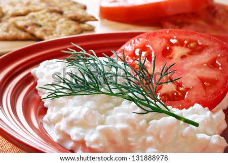 Cottage cheese and tomato salad garnished with a sprig of fresh dill (herb crackers in background).  Macro with shallow dof.