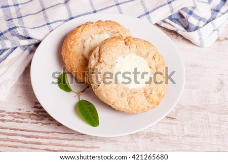 Cottage cheese cake on a plate, top view, close up, horizontal