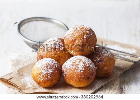 Cottage cheese donuts. Selective focus - stock photo