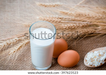 Cottage cheese, glass of milk, two eggs, wooden spoon with cottage cheese and wheat ears lie on the napkin from a burlap on the old table