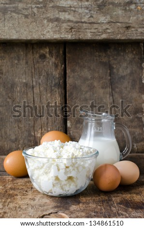 Cottage cheese milk and eggs.Selective focus