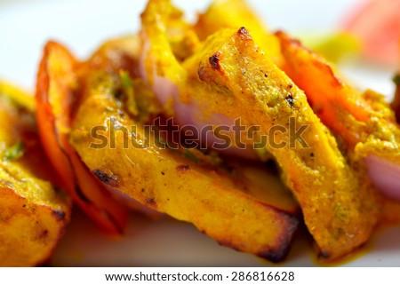 Cottage cheese (Paneer) tikka - stock photo