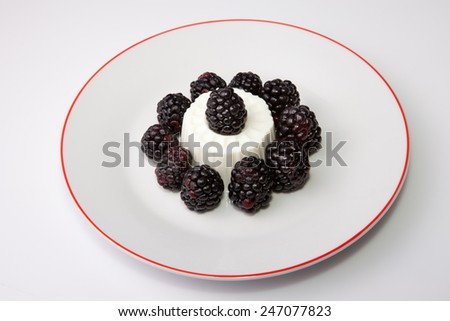 Cottage cheese with fresh blackberries. Isolated over white background