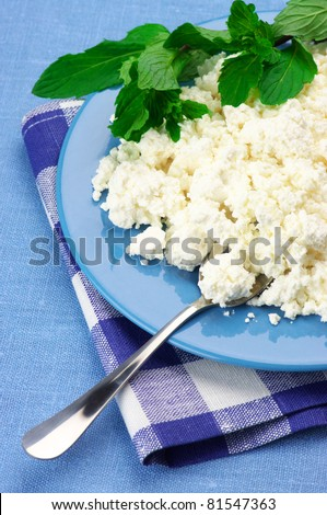 Cottage cheese with mint in blue plate with checked napkin. - stock photo