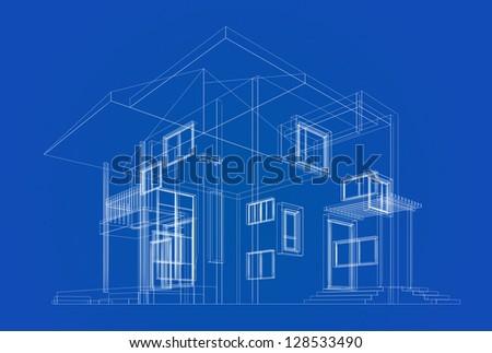 Cottage construction blueprint. High quality 3d render - stock photo