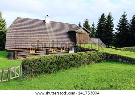 Cottage from the spring Mountains Sumava in southern Czech
