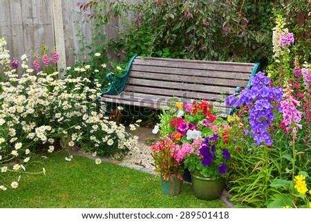 Cottage garden with wooden bench and flowers in containers. - stock photo