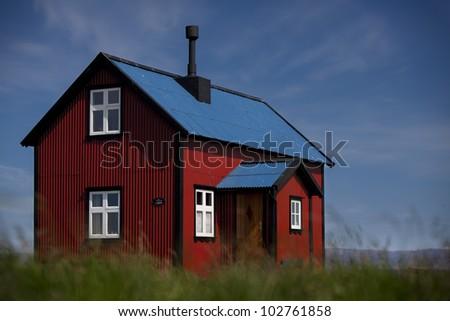 Cottage, Iceland - stock photo