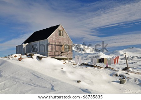 Cottage in the Kulusuk village, Greenland - stock photo