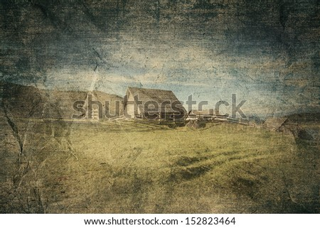 cottage old paper background - stock photo